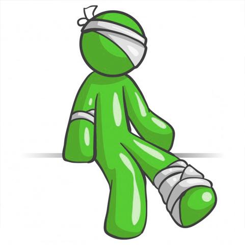 Groen poppetje met blessures